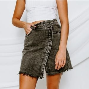 Free People Wrap Style Mini Denim Skirt
